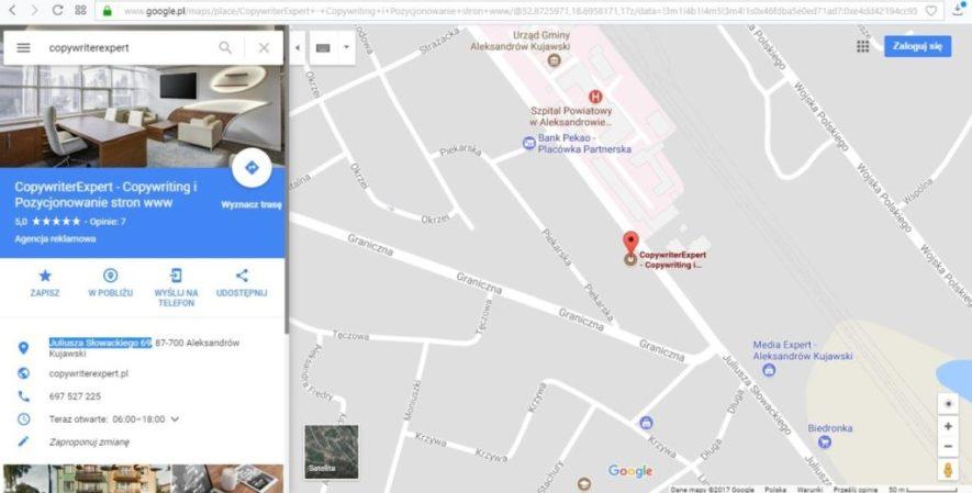 wizytówka CopywriterExpert w wynikach wyszukiwania Google Maps