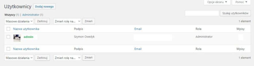 Zalogowanie do wordpressa w celu zabezpieczenia strony, klikamy w użytkownicy i nazwę administratora