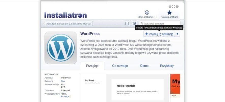 stwórz nową instalację aplikacji WordPress na stronie w Direct Admin