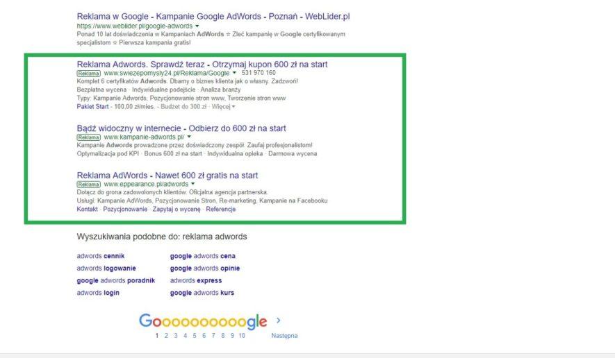 Reklama adwords na dole wyników wyszukiwania google