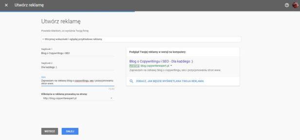 Utworzenie reklamy w Google Adwords Express nagłówki i opis - Przykład cz. 9