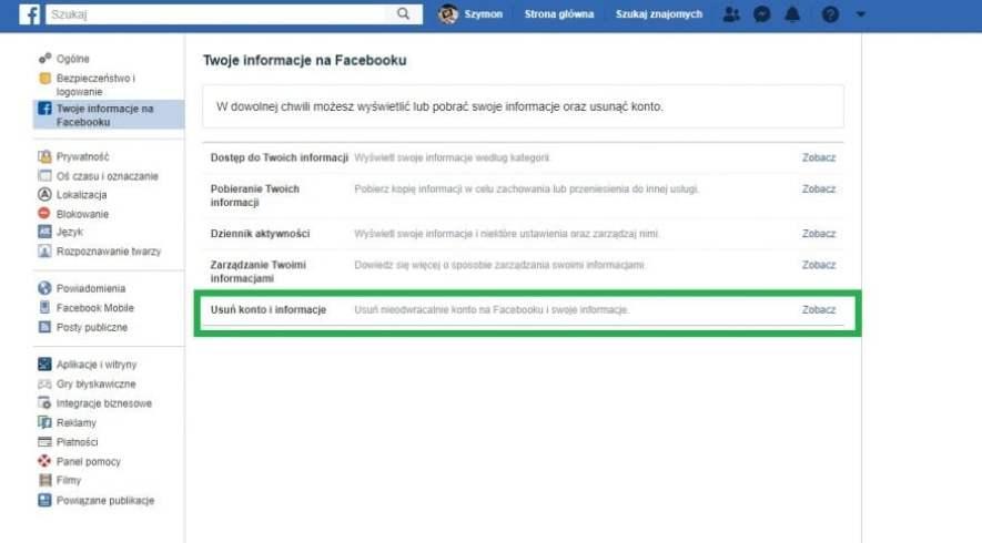usunięcie konta na facebooku 3