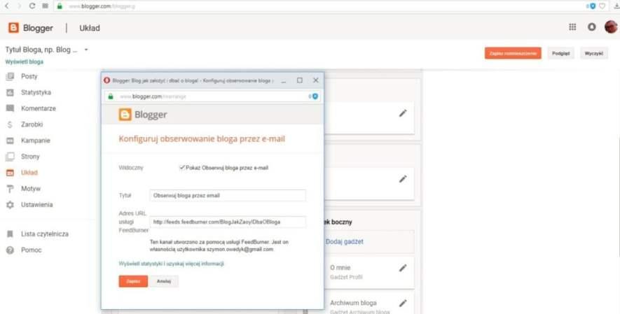 jak założyć bloga na blogspot - konfigurowanie obserwowania bloga przez email