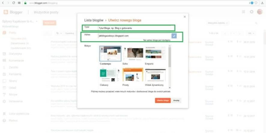 jak założyć bloga na blogspot - ustalamy tytuł i wolny adres bloga