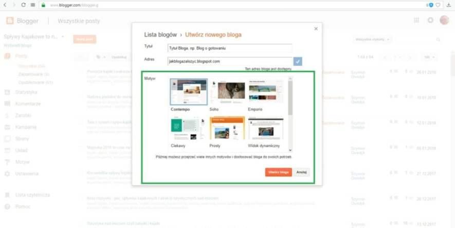 jak założyć bloga na blogspot - wybieramy motyw bloga