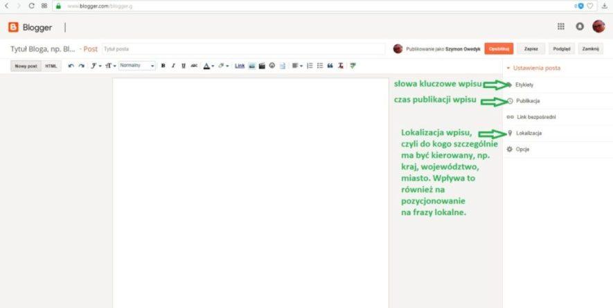 jak założyć bloga na blogspot - wyjaśnienie pojęć po prawej stronie podczas tworzenia nowego wpisu