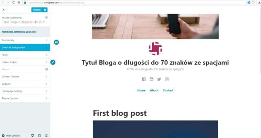 założenie bloga na wordpress.com - kategoria kolory i tło bloga