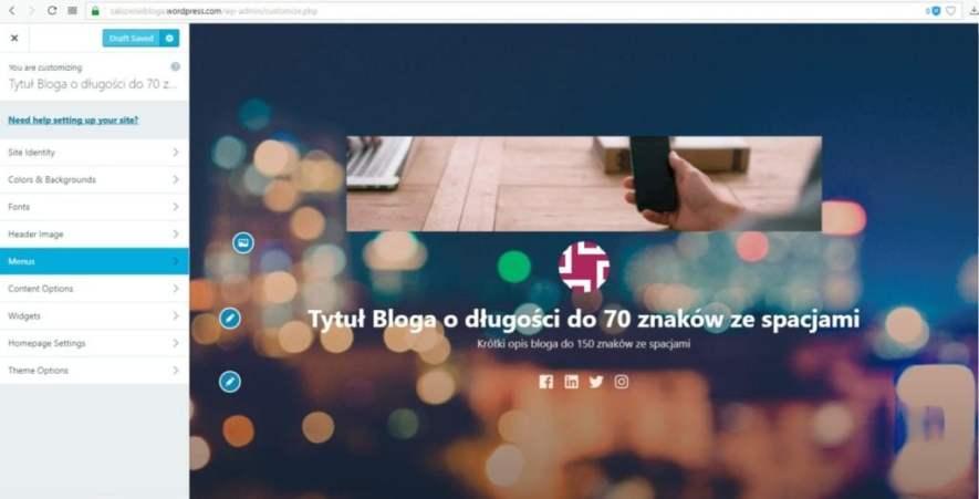założenie bloga na wordpress.com - menu