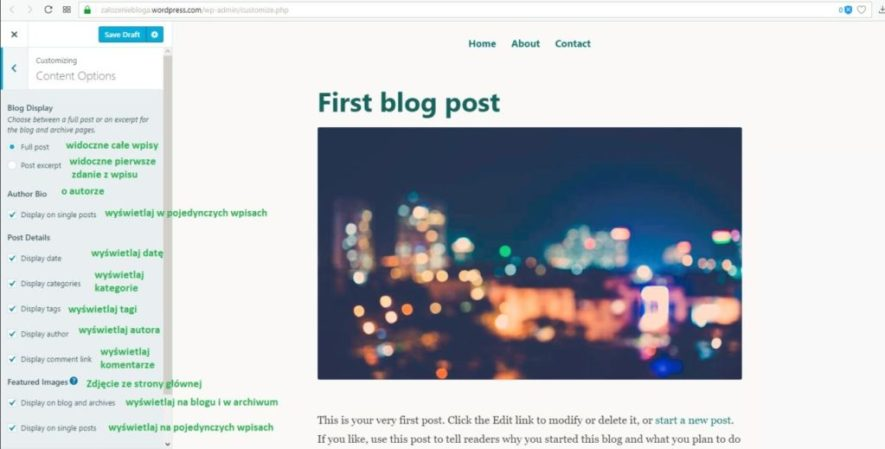 założenie bloga na wordpress.com - opcje treści na blogu część 2