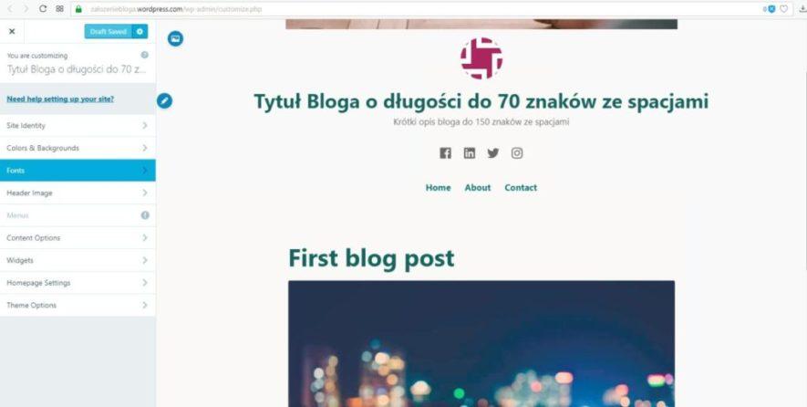 założenie bloga na wordpress.com - ustawiamy czcionkę treści na blogu