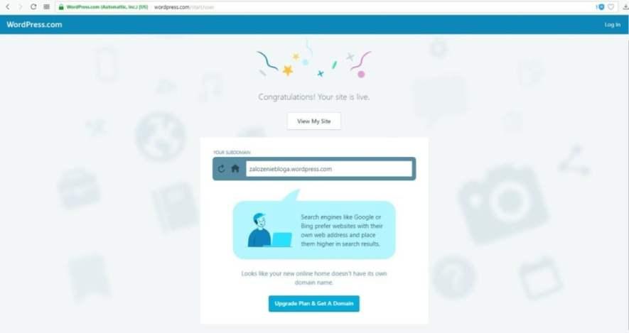założenie bloga na wordpress.com - założenie bloga w wersji darmowej udało się