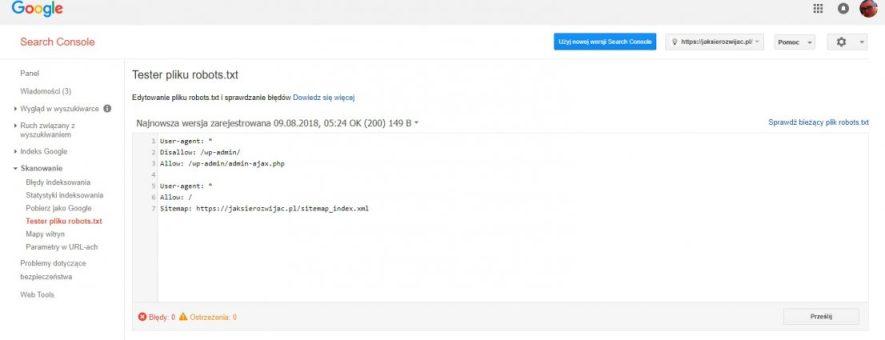 Google search console - dodanie pliku robotstxt