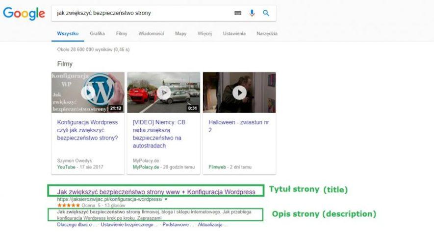 Tytuł i opis strony w Google
