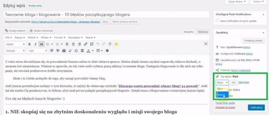 Zmiana typu treści za pomocą wtyczki WordPress