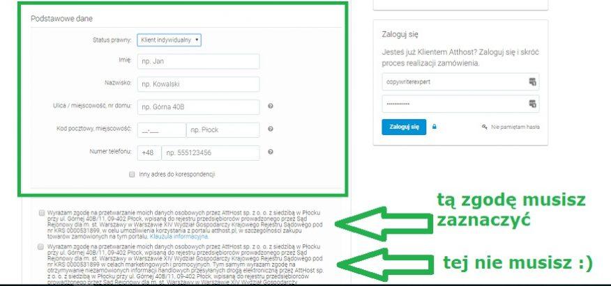 dalszy proces zakupu hostingu Atthost i domeny na blogowanie