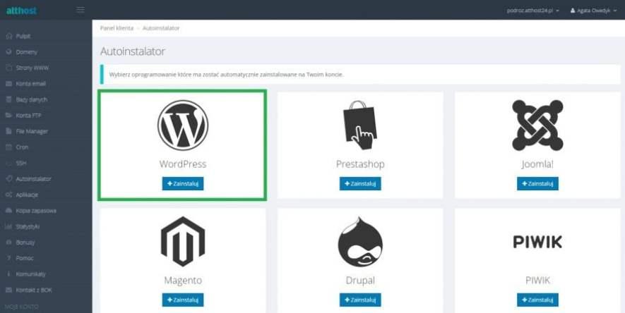 instalacja wordpressa w hostingu atthost 2