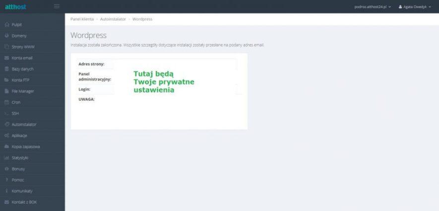 instalacja wordpressa w hostingu atthost 5