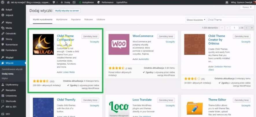 wtyczka child theme configurator do tworzenia motywu potomnego w WordPress