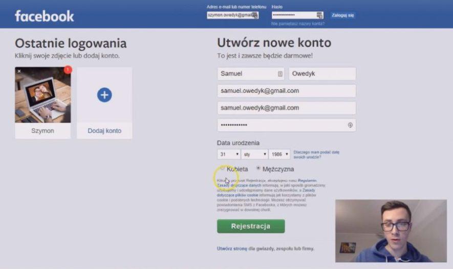 jak założyć konto na facebooku czyli utworzyć konto fb - wypełnienie formularza rejestracyjnego
