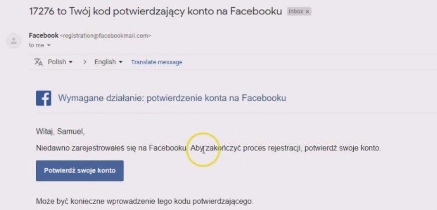 jak założyć konto na facebooku - potwierdzenie nowego konta fb przez wiadomość email