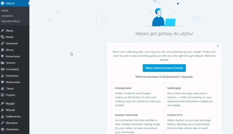 zainstalowano i połączono wtyczkę JetPack WordPress