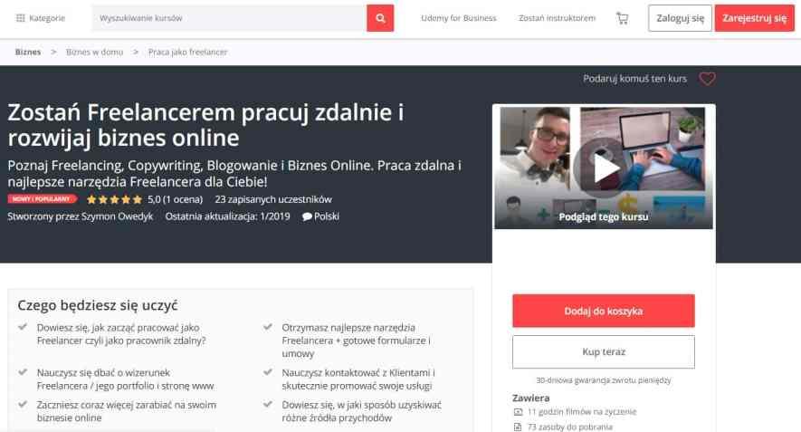 Kurs online Zostań Freelancerem - praca zdalna i biznes online