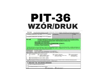 PIT 36 PDF - druk i wzór - dla prowadzących działalność gospodarczą