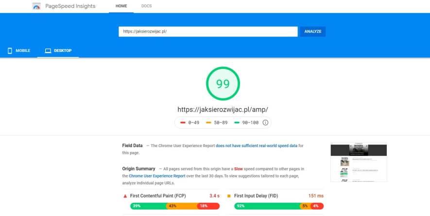 Szybkie ładowanie bloga JakSieRozwijac.pl na desktopach PC