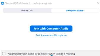 potwierdzenie na zgodę w aplikacji Zoom na dźwięk mikrofon i audio