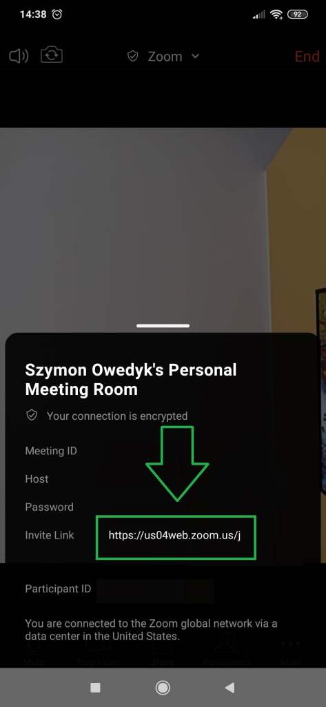 skopiowanie linku spotkania Zoom na telefonie tablecie