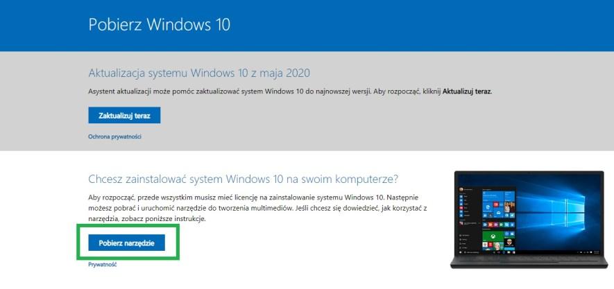 pobierz narzędzie by zainstalować system Windows na swoim komputerze