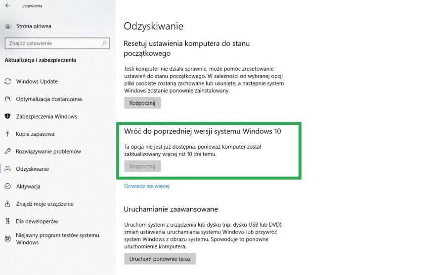 przywrócenie poprzedniej wersji systemu Windows 10, 7, 8.1 i 8