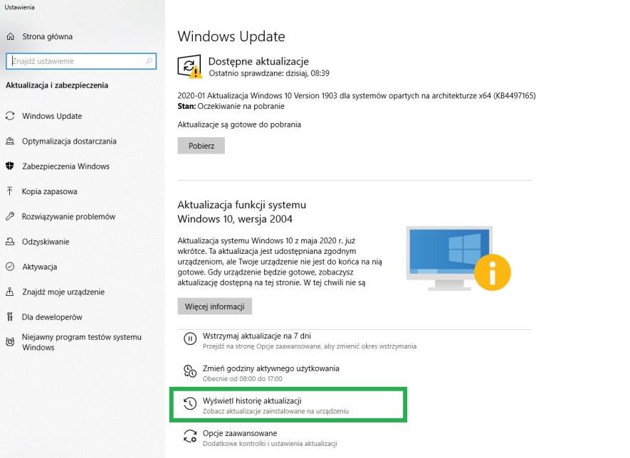 przywracanie systemu Windows dawniejszej aktualizacji w Windows Update