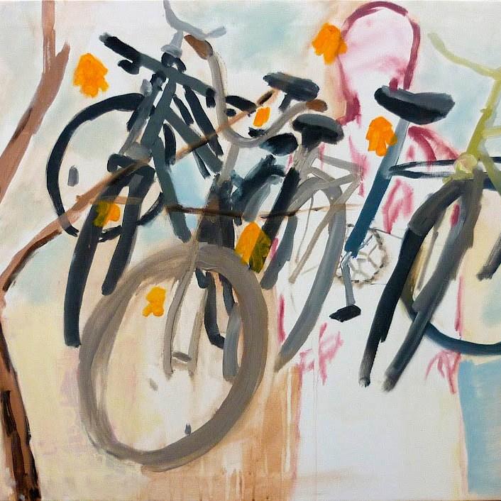 kola1 / bicycles1, 80x70 cm, akryl na plátně / acrylic on canvas, 2010