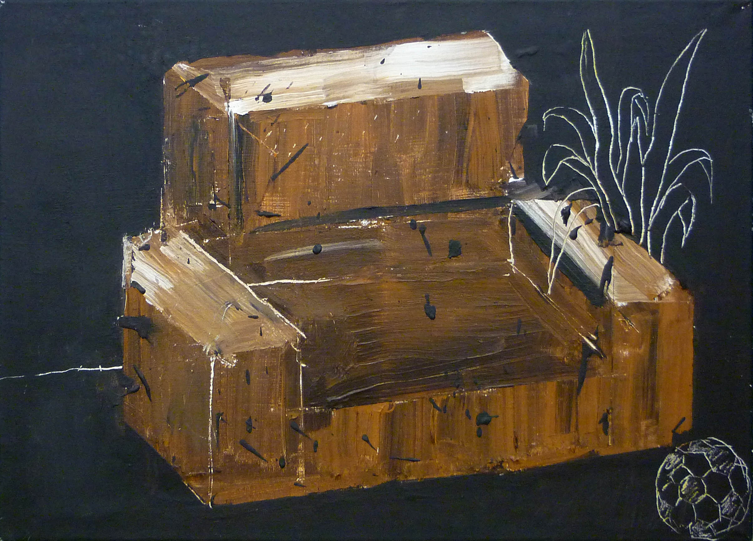 hnědý gauč / couch in brown, 70x50 cm, akryl na plátně / acrylic on canvas, 2013