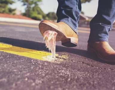 bubble gum, shoes, glue