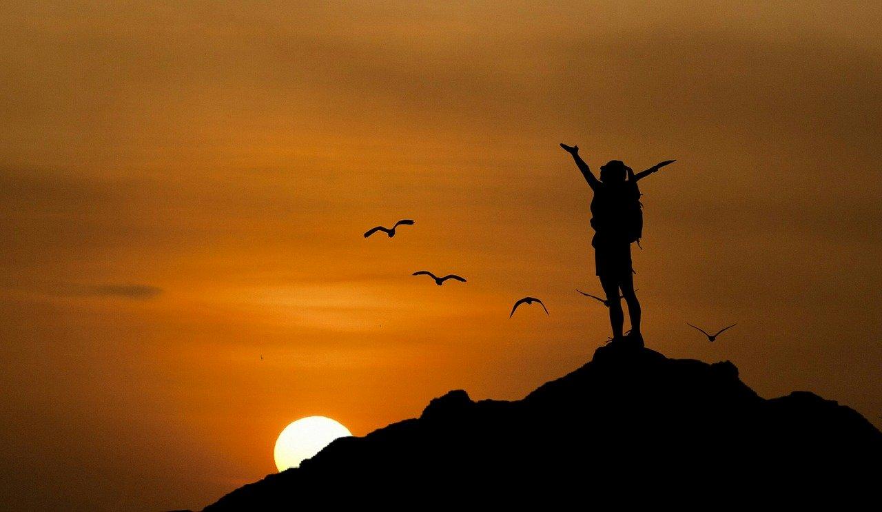 hiking, sunset, sun