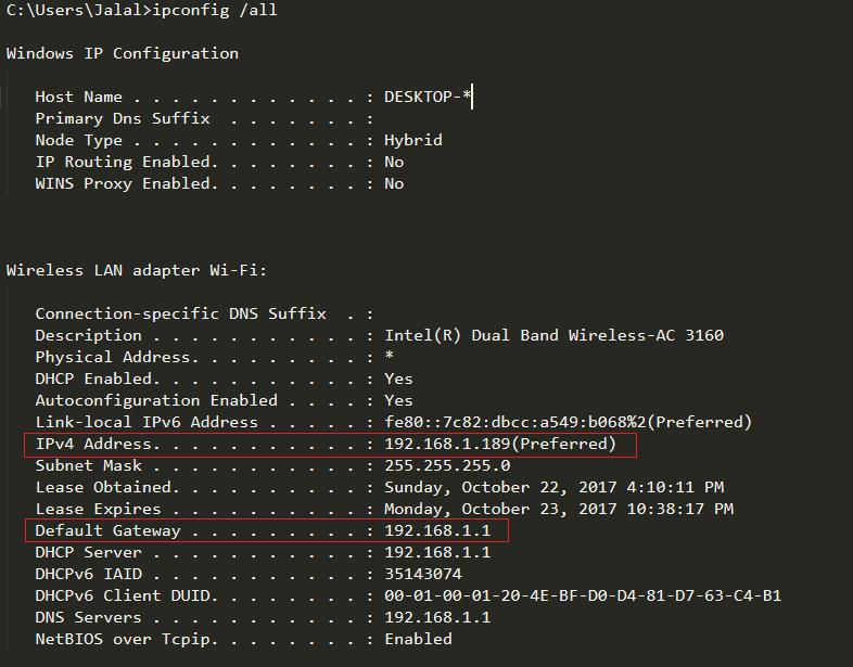 Using IPCONFIG command to get the machine address on Windows.