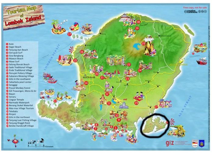 Peta Wisata Lombok (sumber: www.webwisata.com)