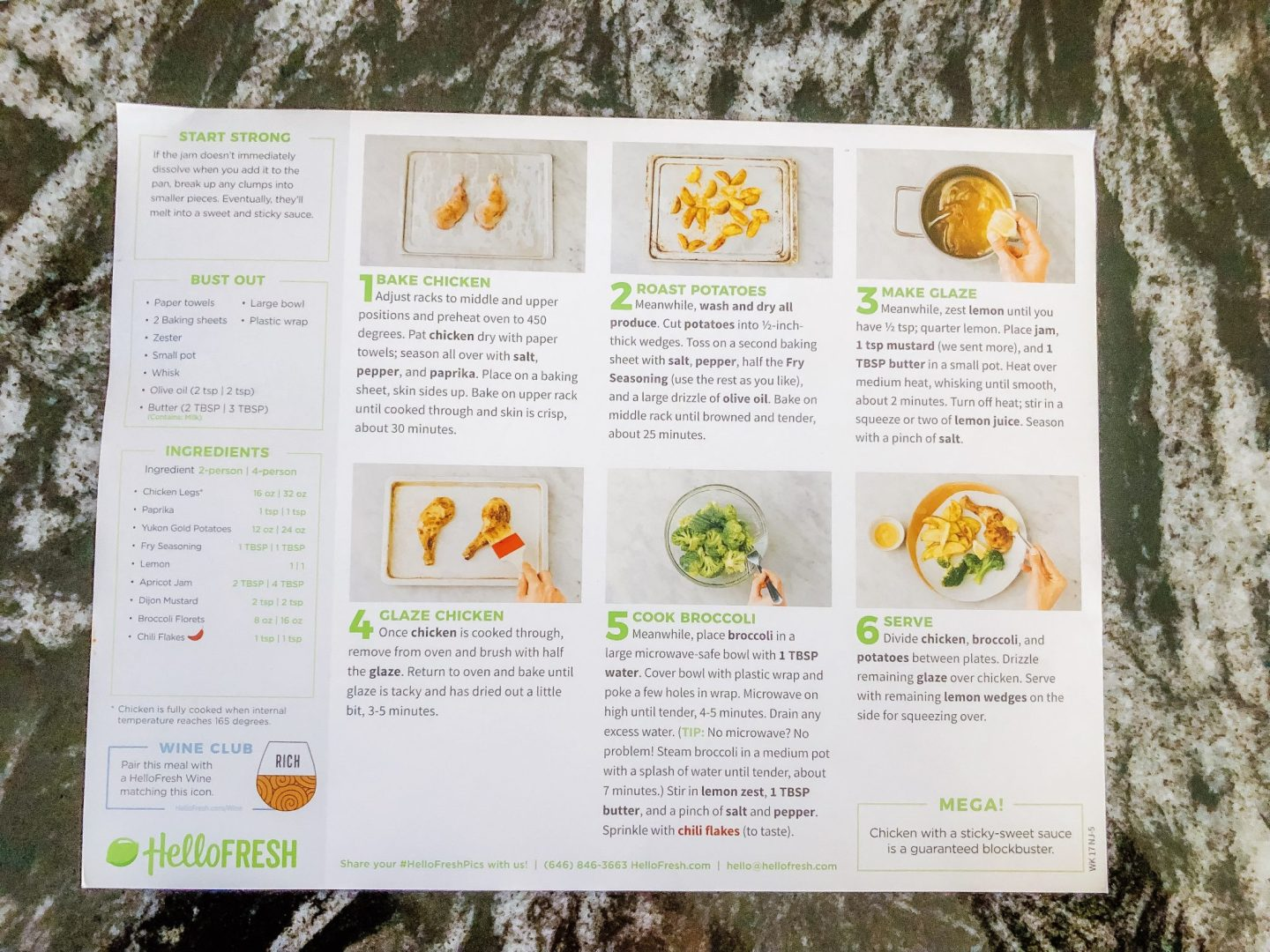 Hello Fresh Recipe Card