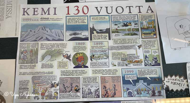 Kemi 130 vuotta -sarjakuvan sivu.