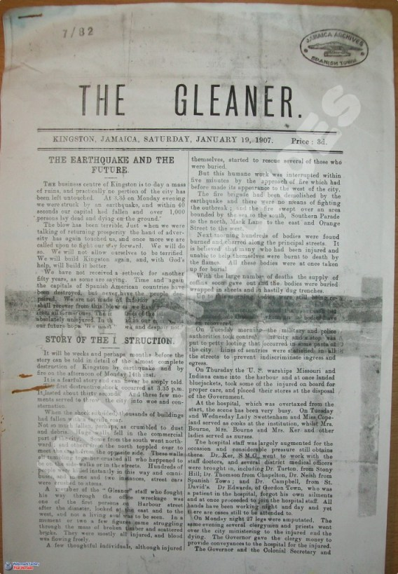 The Gleaner's first publication after the earthquake (A copy of this publication was obtained from the National Archives of Jamaica)