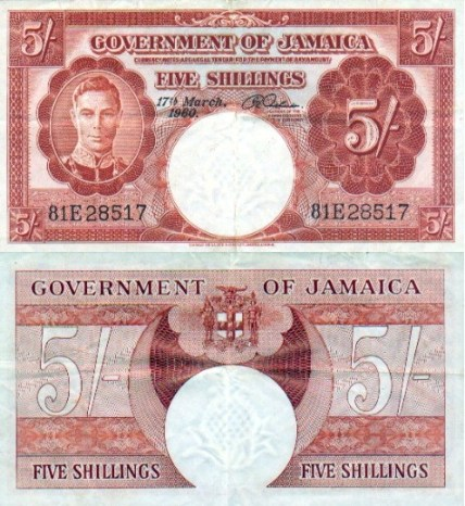 Jamaican 5 Shillings Bank Note