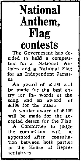 National anthem and flag contests announcement that appeared in the Daily Gleaner, Tuesday, October 3, 1961,