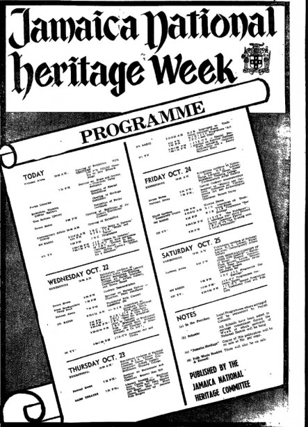 The first national heritage week programme, as advertised in the Daily Gleaner of Tuesday, October 21, 1969, as published by the Jamaica National Heritage Committee.