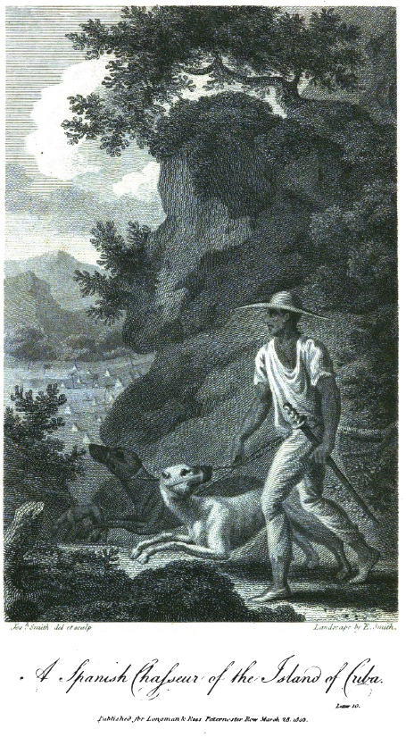 Cuban bloodhound and handler (Chasseur)