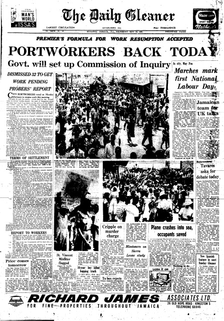 Front page of the Daily Gleaner, Wednesday, May 24, 1961, focusing on the first National Labour Day celebrated on Tuesday, May 23, 1961.