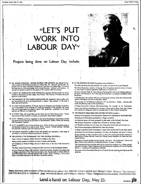 Advertisement in the Sunday Gleaner, May 21, 1972, featuring Prime Minister Michael Manley's new call to action for National Labour Day, 1972 onwards:
