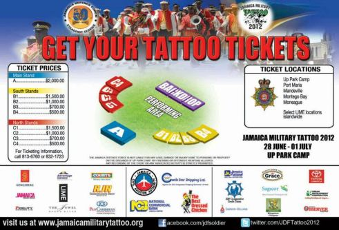 An advertisement for the Jamaica Defence Force's (JDF) Military Tattoo 2012 (Source: Jamaica 50 Facebook page)