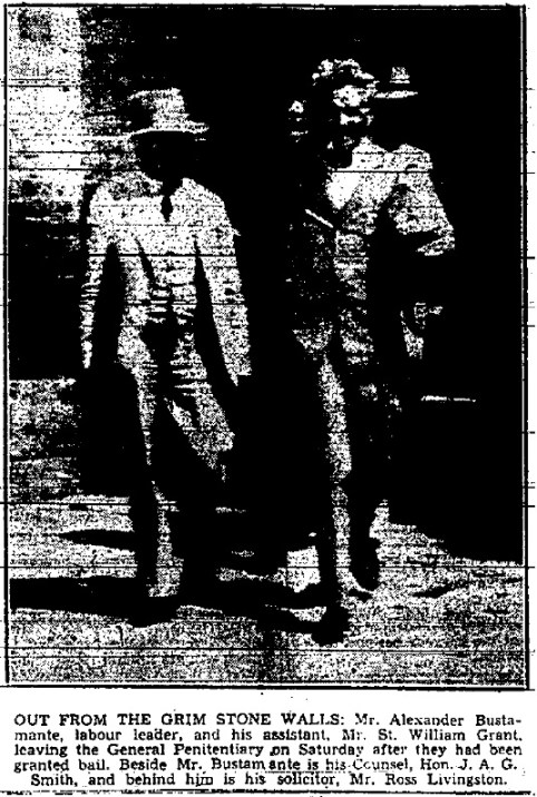 The article continues on page 7 with the above photo of both Grant and Bustamante leaving the General Penitentiary (The Daily Gleaner, Monday, May 30, 1938, pg. 1 & 7)